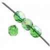 Czech Fire polished 4mm Light green Aurora Borealis